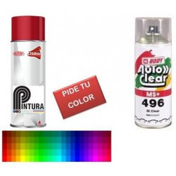 KIT SPRAY COLOR COCHE METALIZADO + BARNIZ